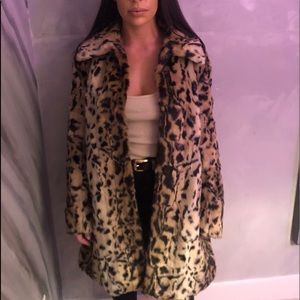 MATISON STONE Leopard fur teddy coat made in USA